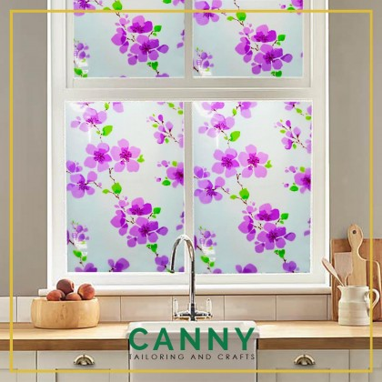 2 METERS GLASS STICKER FLOWERY , TINTED NON SEE THROUGH FLOWERY WIDTH 45CM / STICKER TINGKAP WINDOW  45CM X 200CM
