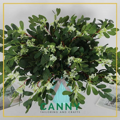 1Pcs Green Artificial Leaves Large Eucalyptus Leaf Plants Wall Material Decorative Fake Plants For Home Shop Garden Party Decor