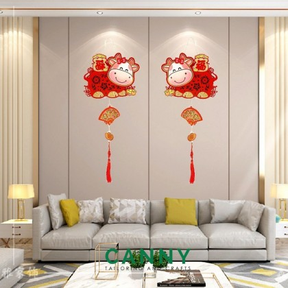 [CNY 2021 DECO] HANGING DECORATION OX YEAR SPECIAL WITH LIGHT / 新春 装饰 牛年特转 灯饰 (1 SET)[KOD 1316/1315]