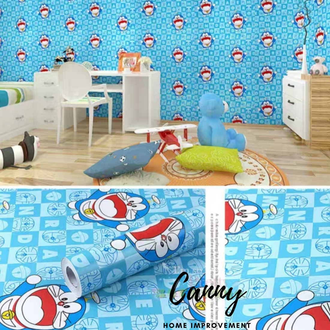 10 Meters Wallpaper Cartoon Doraemon / Hello Kitty PVC Material Self Adhesive