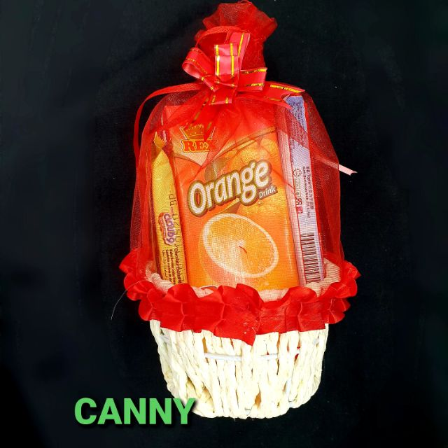 Basket with Organza And Ribbon Size S, M and L for Gift Wrapping / (1 )